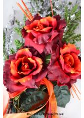 1 Rose ZAZI bordeaux sur tige 70 cm
