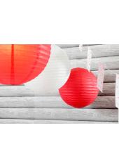 2 Lanternes ROUGE 20 cm