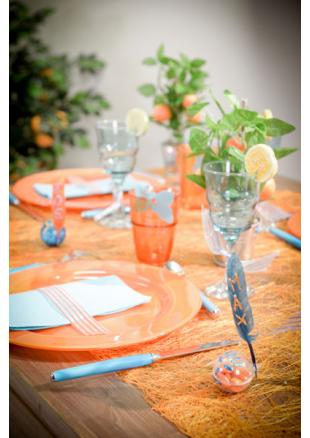 5m chemin de table abaca orange - Chemin de table orange ...