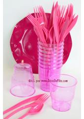 10 Verres plastic fushia