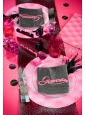 6 Sous assiettes GLAMOUR rose fushia