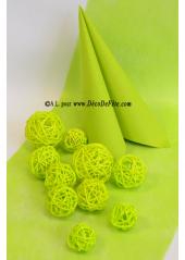 10 boules Rotin vert anis