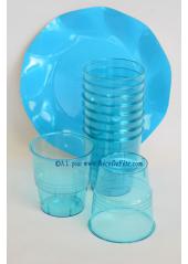 10 Verres plastic turquoise