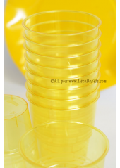 10 Verres plastic jaune