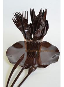 30 Couverts plastic chocolat