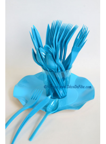 30 Couverts plastic turquoise