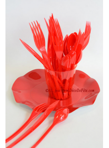 30 Couverts plastic rouge