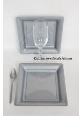 12 Assiettes à dessert plastique carré gris argent