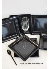 12 Assiettes à dessert plastique carré noir