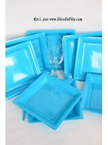 12 Assiettes à dessert plastique carré turquoise