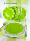 10 Assiettes à dessert fleur vert anis