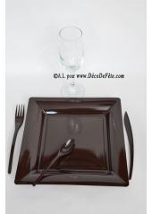 12 Assiettes chocolat carré 23.5 cm