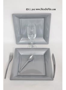 12 Assiettes gris argent carré 24 cm