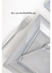 12 Assiettes gris argent carré 23.5 cm