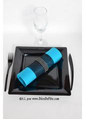 12 Assiettes noires carré 23cm