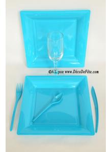 12 Assiettes turquoise carré 24 cm