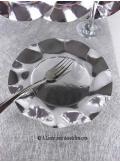 10 Assiettes à dessert fleur argent BRILLANT