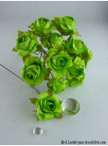 12 Roses ouvertes vert anis