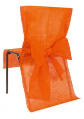10 Housses de chaise orange avec noeud
