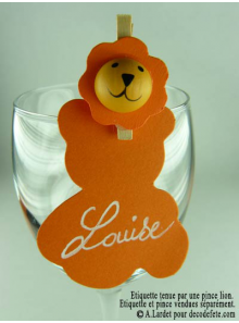 12 Etiquettes nounours orange