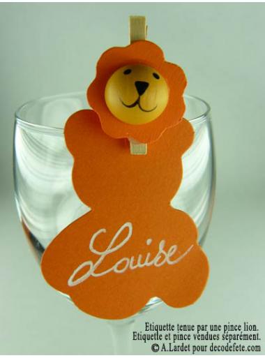 12 Etiquettes Nounours Orange