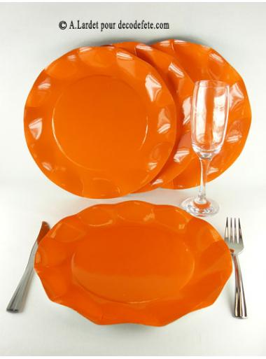 10 Assiettes fleur orange