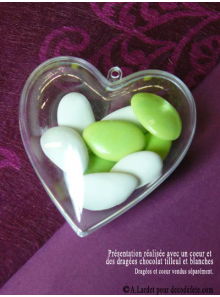 1 Coeur transparent 10 cm