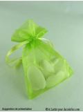 10 Sachets organdi vert anis