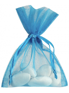 10 Sachets organdi turquoise