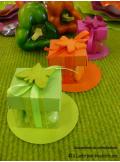 10 petits cubes transparent et vert anis