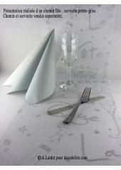 5M Chemin de table Fête blanc argent