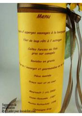 5 Menus feuille de soie orange