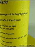 5 Menus feuille de soie jaune