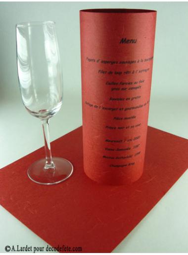 5 menus feuille de soie rouge. Black Bedroom Furniture Sets. Home Design Ideas