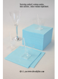 50 Serviettes cocktail bleu caraîbes