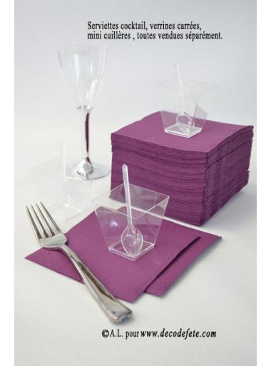 50 Serviettes cocktail prune/aubergine