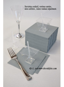 50 Serviettes cocktail gris