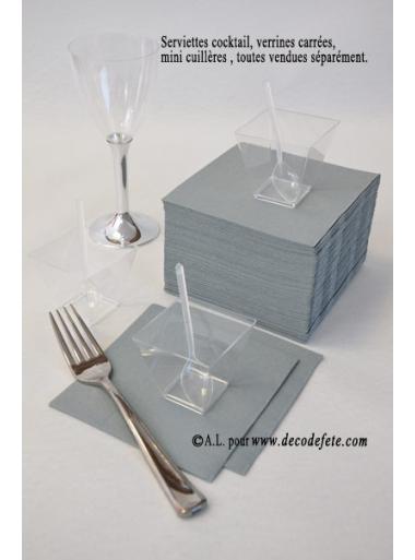 50 Serviettes cocktail gris