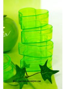 6 Boites coeur transparent vert anis