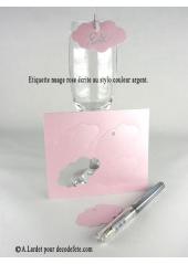 12 Etiquettes nuage ROSE NACRE