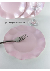 10 Assiettes à dessert fleur rose