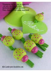 6 Pince à linge coccinelle vert anis