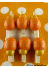 6 Pince à linge coccinelle orange