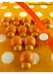 12 stickers coccinelles orange