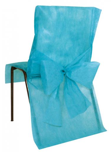 10 Housses de chaise turquoise avec noeud