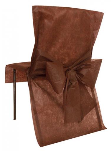 10 Housses de chaise chocolat avec noeud