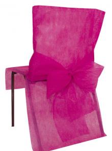 10 Housses de chaise fushia avec noeud