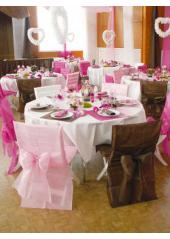 10 Housses de chaise rose avec noeud
