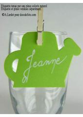 12 Etiquettes arrosoir vert anis