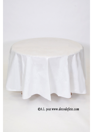 1 nappe presto ronde jetable blanc - Nappe Intiss Mariage